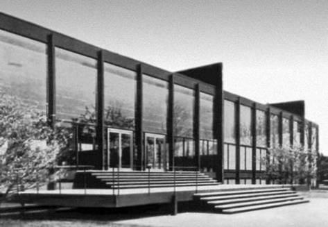 Описание: Здание Новой национальной галереи в Западном Берлине