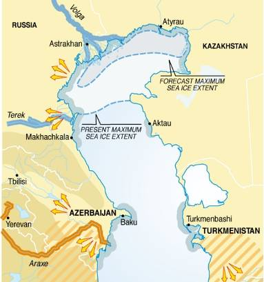 Selected impacts of climate change in the Caspian Sea region (map/graphic/illustration)