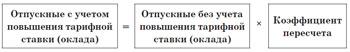 Отпускные с учетом повышения тарифной ставки (оклада)
