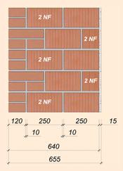 Стена с применением блока 2NF и лицевого кирпича 640мм (655мм) 2NF+ЛК