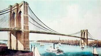 Бруклинский мост, Нью-Йорк, 1883 г. Несущая конструкция-стальные канаты