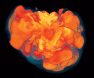 Первичный Взрыв сверхновой происходит несимметрично, что сильно затрудняет его компьютерное моделирование