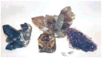 Цветные разновидности кварца (морион, цитрин, раухтопаз, аметист)
