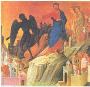 Дуччо. Искушение (третье) Христа в пустыне. 1308—1311. Нью-Йорк. Собрание Фрика