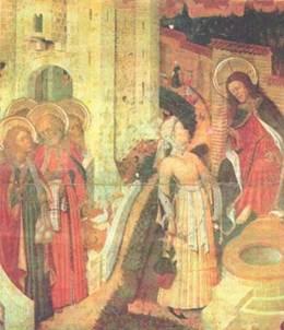 Бернардо Марторелл. Христос и самарянка. Середина XV в. Барселона. Кафедральный собор.