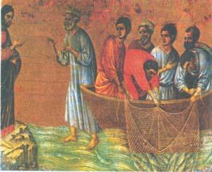 Дуччо. Явление Христа на берегу Тивериадского озера. 125 5-1318. Сиена